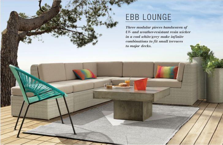 CB2 Outdoor Furniture EBB Lounge L-Shapes Sofa