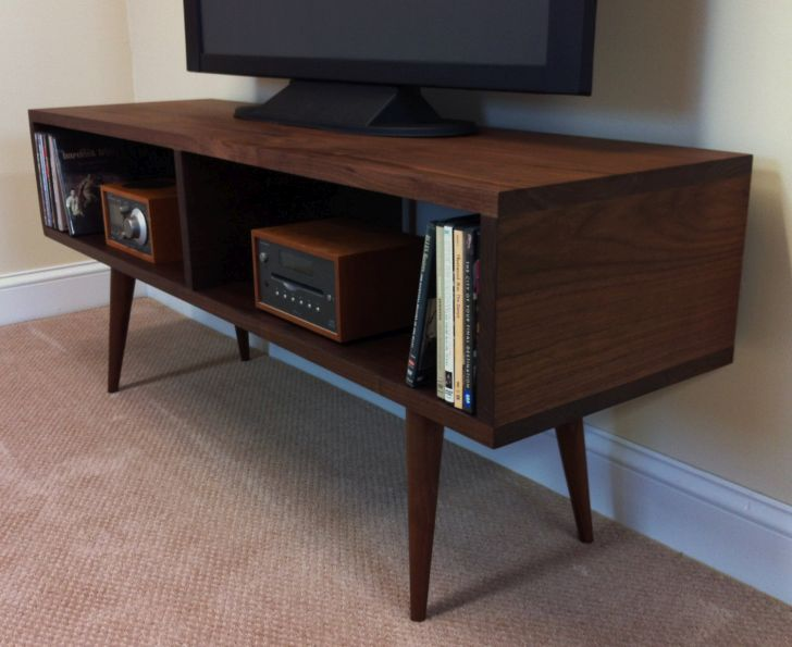 Mid Century Modern Media Console Handmade Mid century modern Media Console for TV Table or Entertainment Made with Black Walnut and Tapered Wood Legs