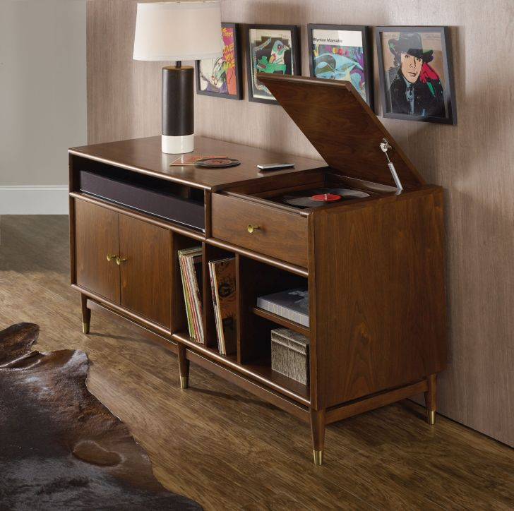 Mid Century Modern Media Console Hooker Furniture Mid Century Media Console with Rubberwood Solids with Walnut Veneer plus Pullout Drawer Underneath