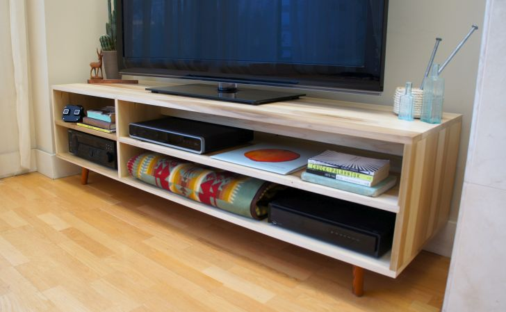 Mid Century Modern Media Console Natural Poplar Media Console with Mid-century Modern Legs Available in Walnut and Custom Sizes Available
