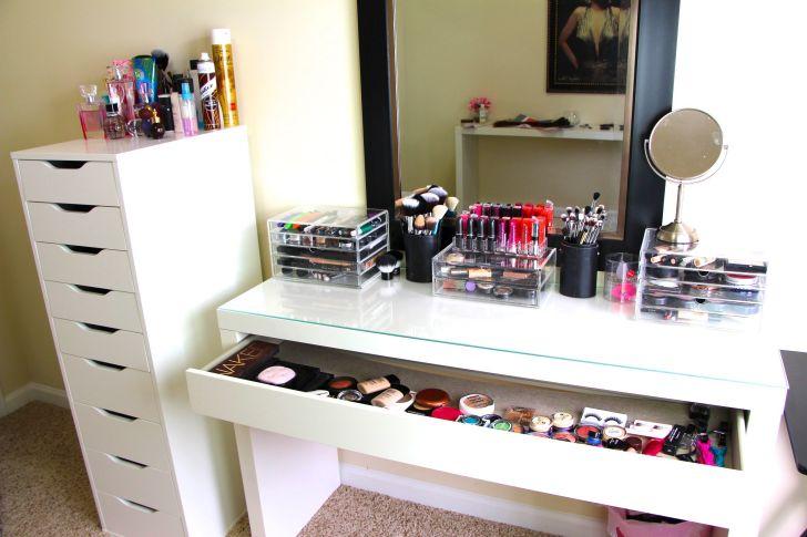 Sleek White IKEA Makeup Vanity Storage Organizer with White Cabinet