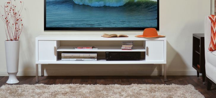Mid Century Modern Media Console White Mid Century Media Console Cardiff with Adjustable Audio or Video shelf and 7 Step Gloss White Finish