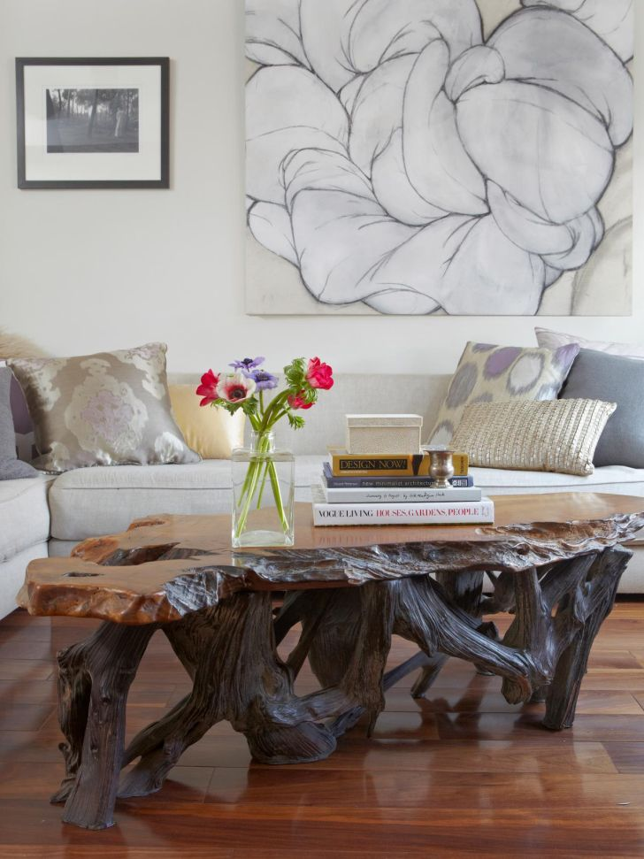 Amazing Antique and Rustic Tree Branch Coffee Table with Sectional Sofas Design Ideas for Living Room