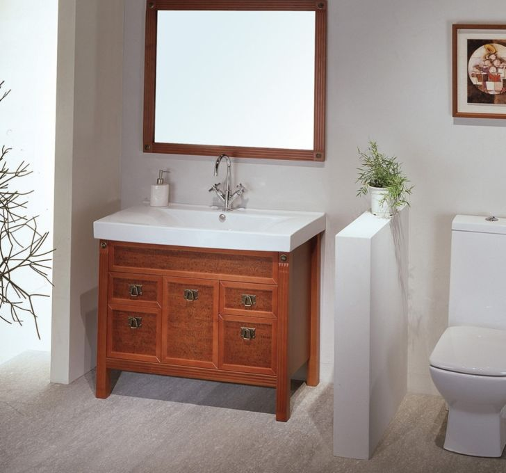 Contemporary Antique Small Bathroom Vanity And Square Wall Mirror Idea In Long  Island