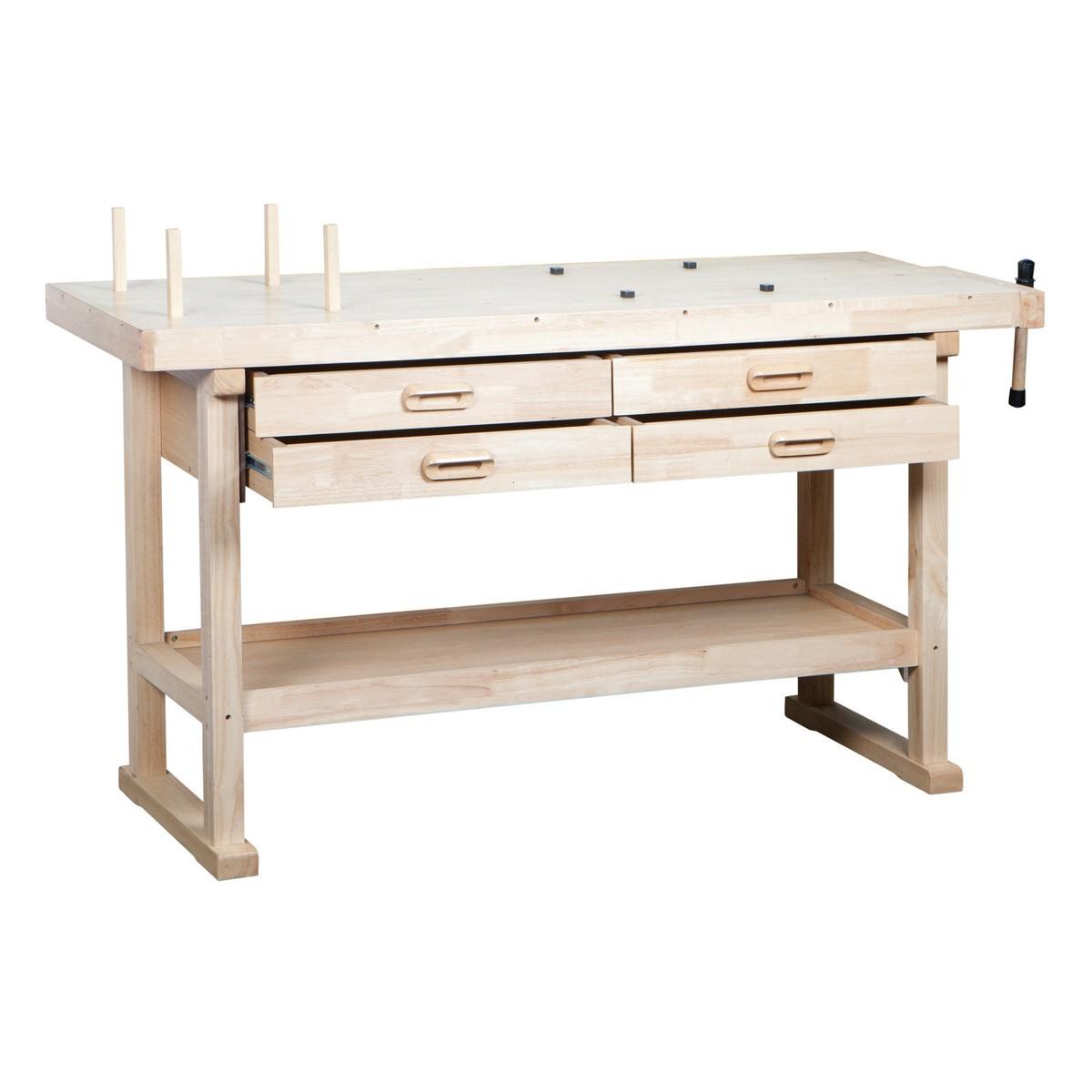 DIY Hardwood Workbench with Drawers