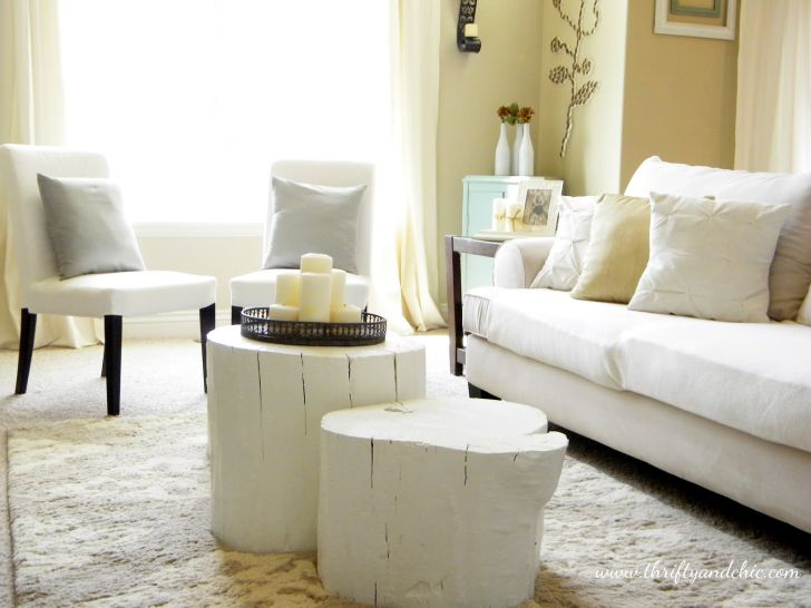 DIY Projects for Home Decor Tree Stump Coffee Table with Thrifty and Chic style with White Color Paint