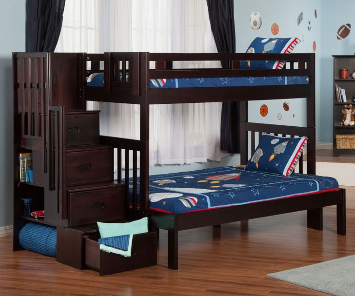 Dark Bunk Beds Twin Over Full Design By Ashley Furniture With Multitasking Stair as Storage And Bookshelf