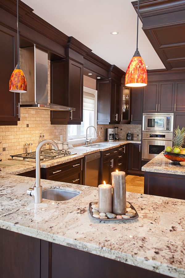 Dark Wood Cabinets Kitchen Design with Giallo Ornamental Granite Countertops