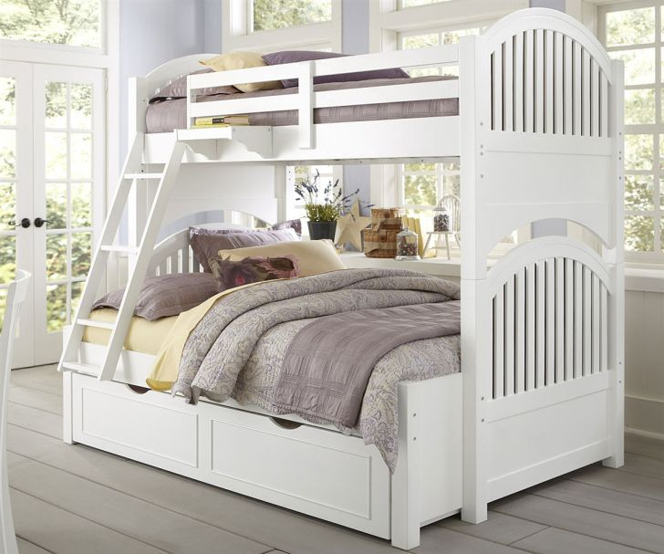 Elegant Adrian White Finish Bunk Bed With Stair And Storage Drawers Or Trundle