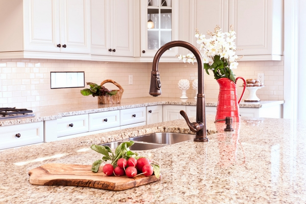 Kitchen Decoration with Giallo Ornamental Granite Countertops with Stainless Sink and Faucet