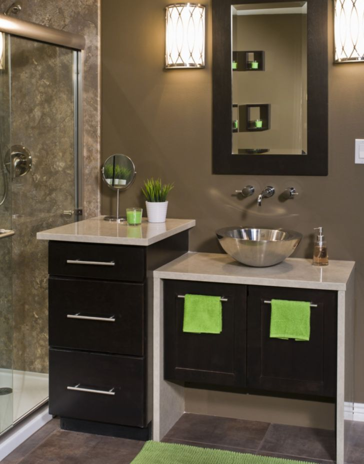 Long Island Bathroom Mirror and Vanities Experts with Stainless Basin Sink and Stone Vanity
