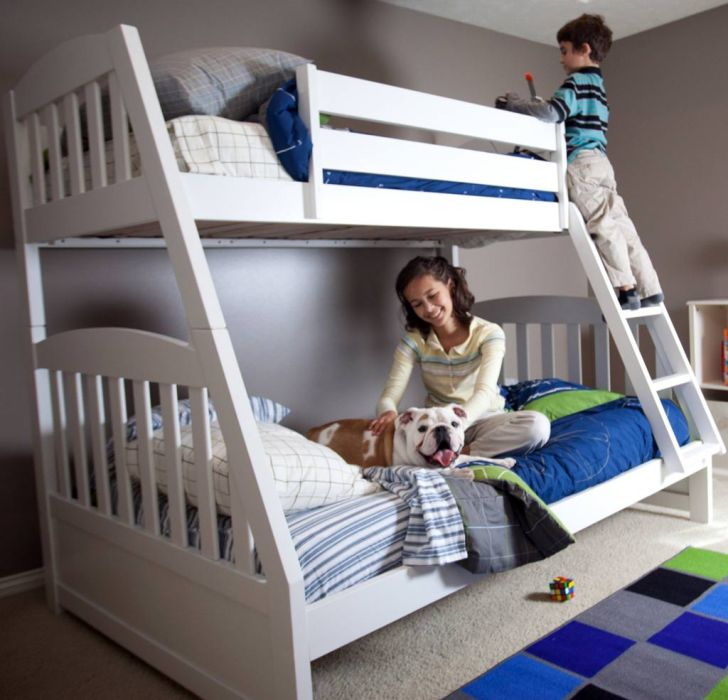 Simple Design White Twin Over Full Bunk Bed For Toddlers