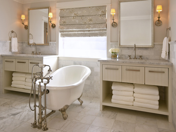Sleek and White Bathroom Vanities Long Island with Double Vanities Tub by DeCesare Design Group