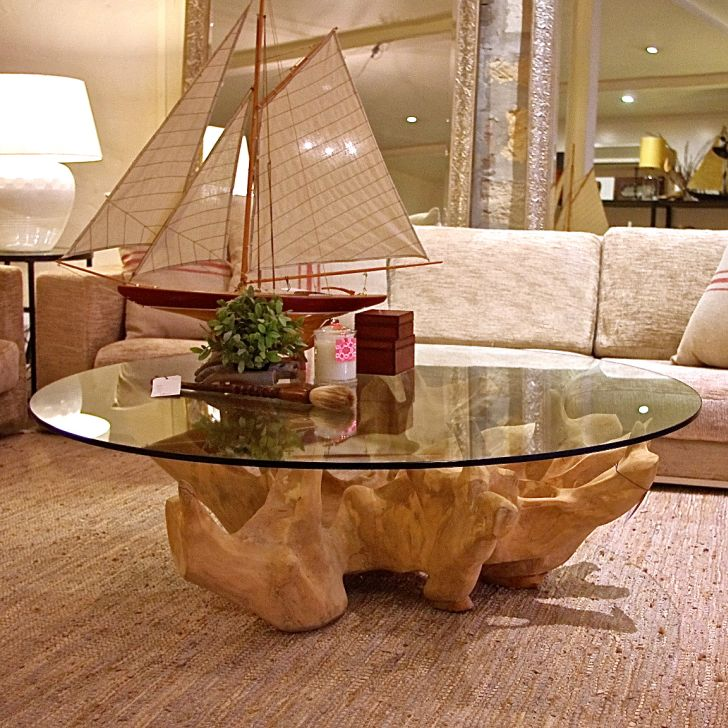Tree Stump Coffee Table with Round Glass