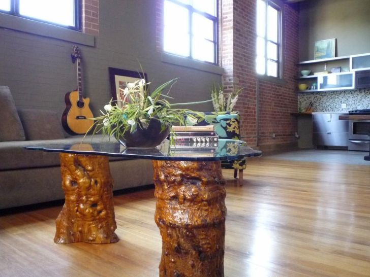 Tree Trunk Coffee Table with Glass Top in Living Room