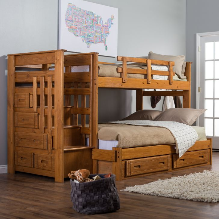 Wooden Twin Over Full With Stairs Bunk Bed Plans For Kids
