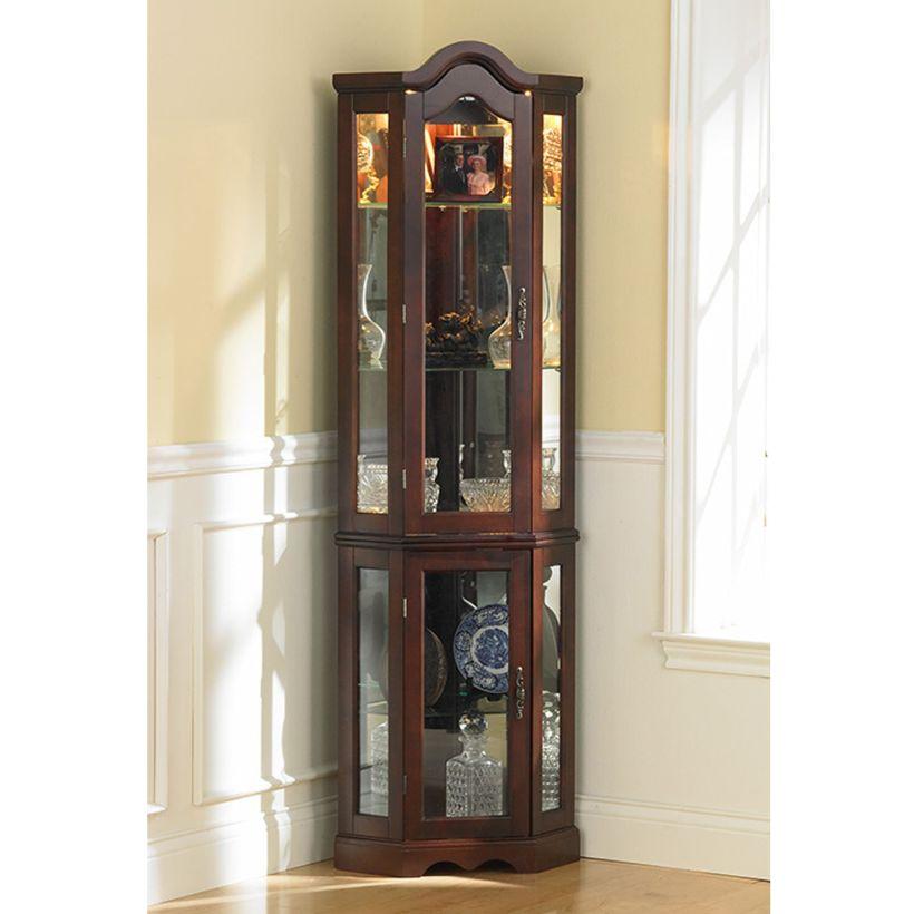Adjustable Lighted Ambridge Corner Curio Cabinet with Three Tempered Glass Panels Shelves Corner Curio Cabinet Ikea