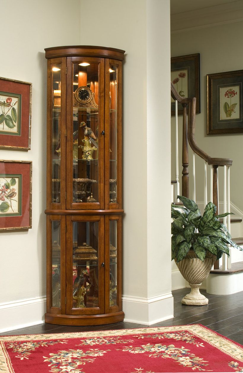 Cherry Lighted Corner Curio Cabinet with Glass Doors By Pulaski Edwardian Corner Curio Cabinet Ikea