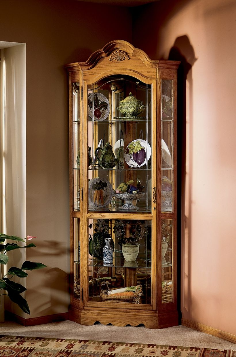 Classic Lighted Corner Curio Cabinet for Family Heirlooms with Glass Wall Corner Curio Cabinet Ikea