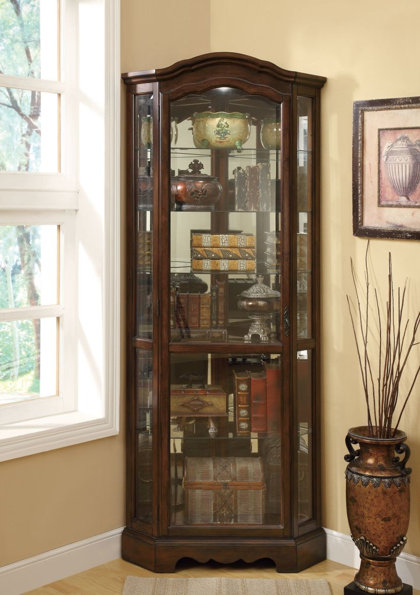Contemporary And Traditional Glass Curio Cabinet With Three Glass Side Wall Corner Curio Cabinet Ikea