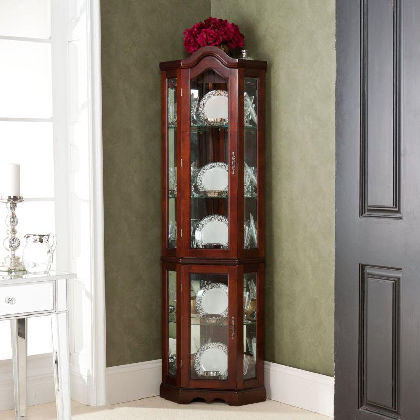Ikea Lighted Golden Oak Corner Curio Cabinet With Glass Wall Corner Curio Cabinet Ikea