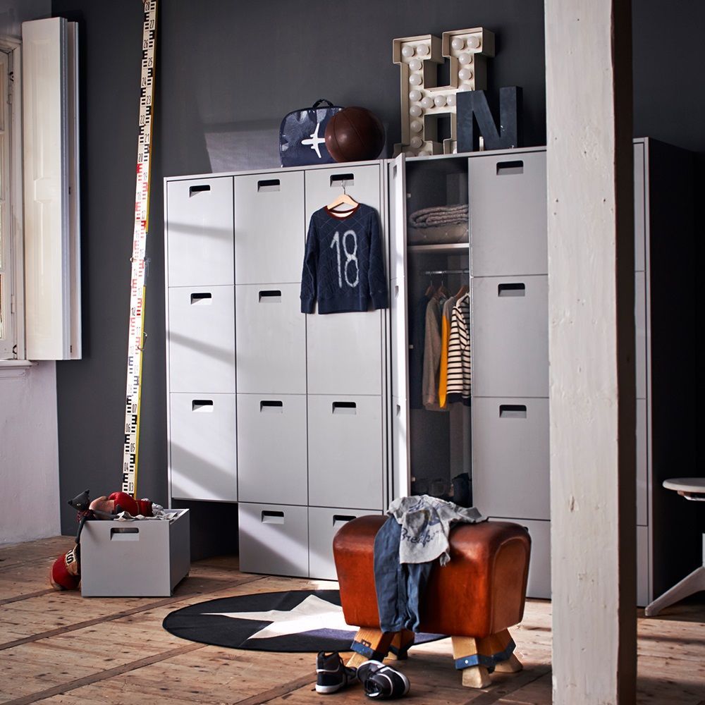 amazing bedroom with locker storage in grey wardrobe for kids