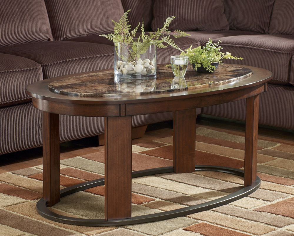 brown wooden norcastle coffee table with oval shape and marble top for elegant living room