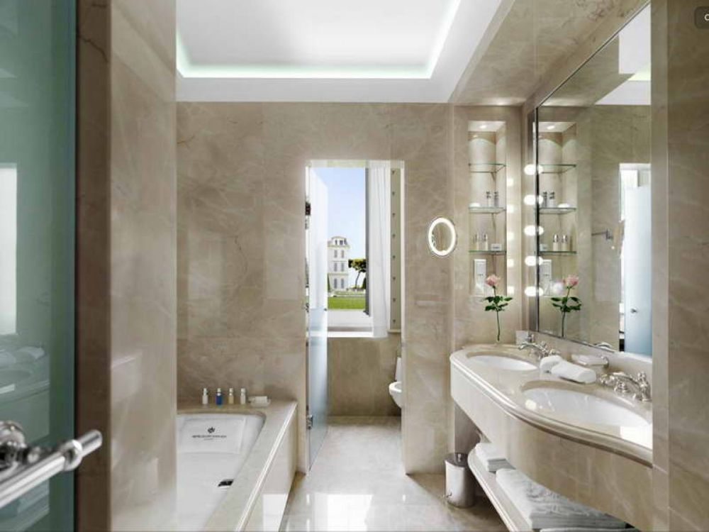 catchy vertical glass shelves enhancing vanity sets with lighted mirror and floating sink
