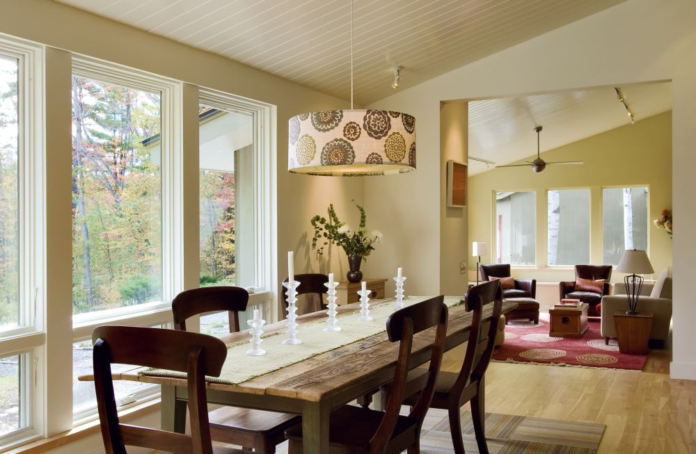 classic wooden dining room decoration with hanging round lighting ideas