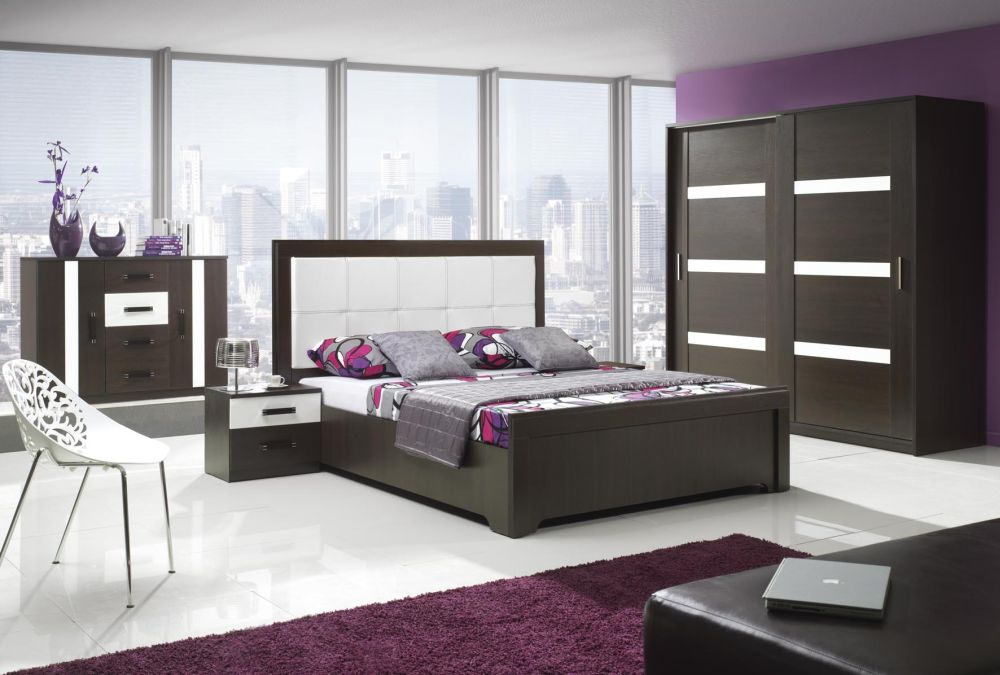 contemporary queen bedroom design with huge wooden cupboard and wide glass wall