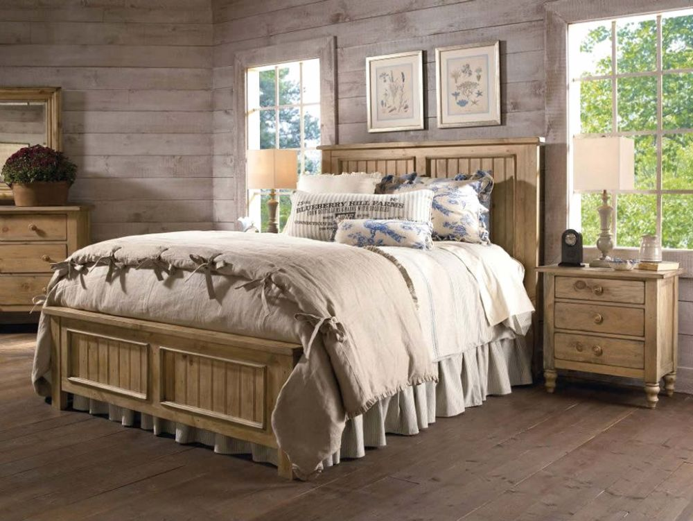 country light bedroom set ideas with rustic nightstand and wooden wall