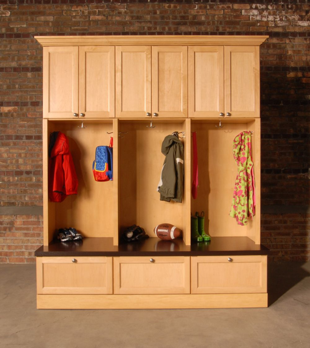 custom DIY design mudroom cubby with wooden locker hooks and drawer shoe rack storage under bench seat ideas