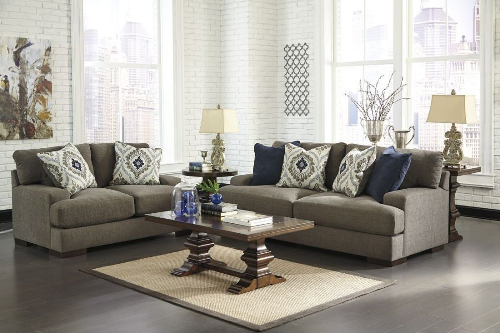 decorative living room furniture set for sale with grey sofa plus cushion and wooden table