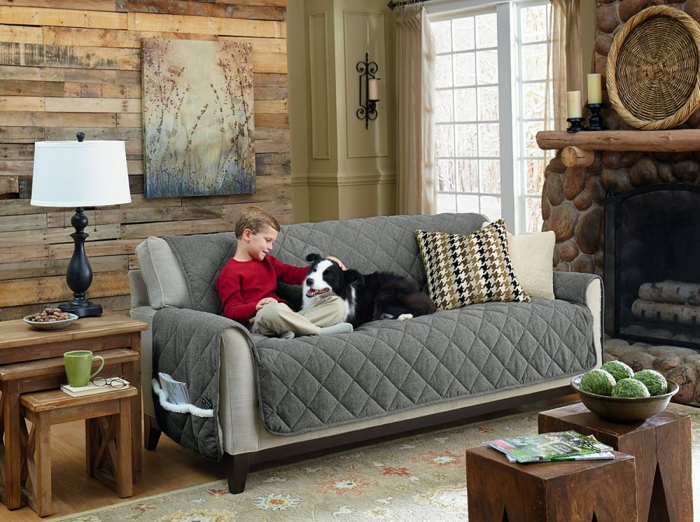 dog couch cover with straps and protecting from dust and dog hair