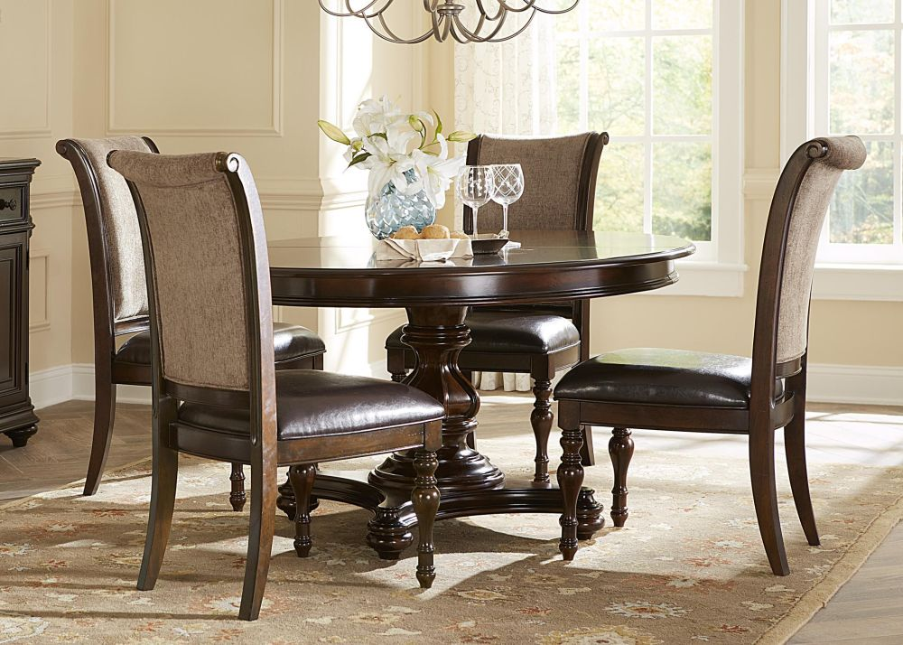 elegant classic dining table furniture sets with oval table shape and artistic hanging lamp