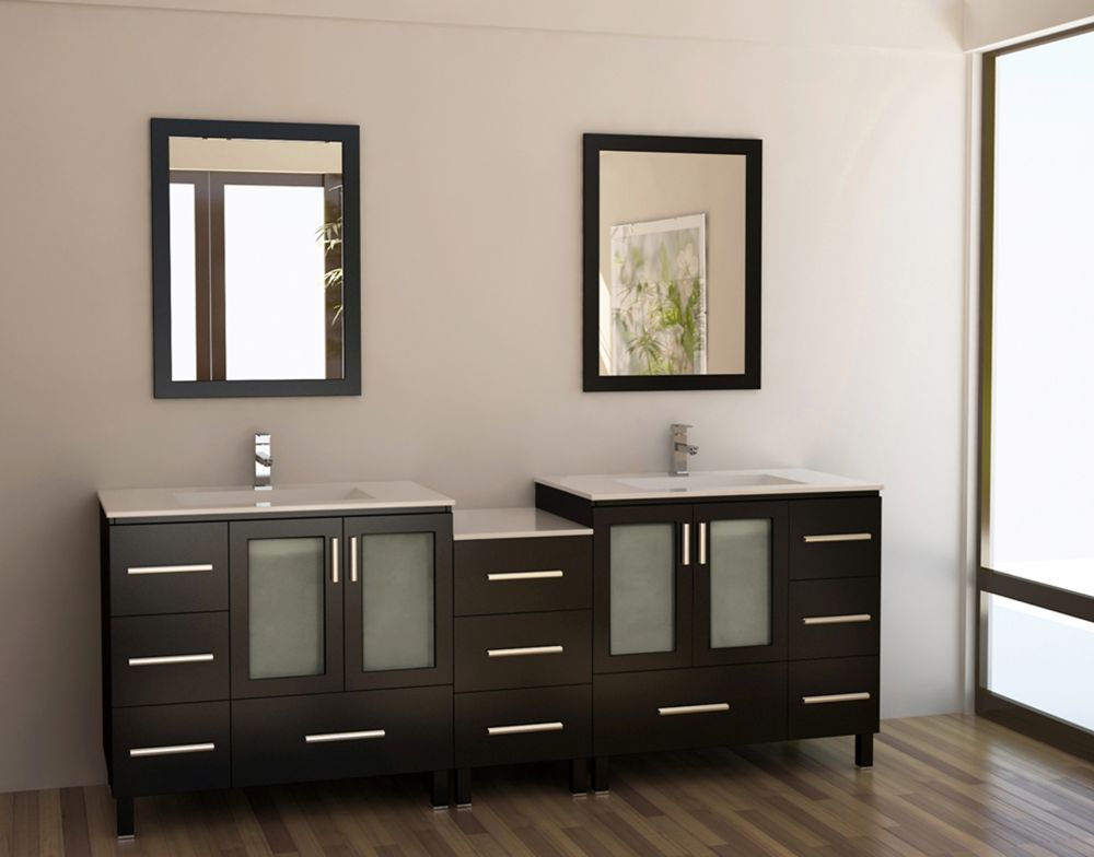 elegant dark vanity design by Menards with double sink and two square mirrors