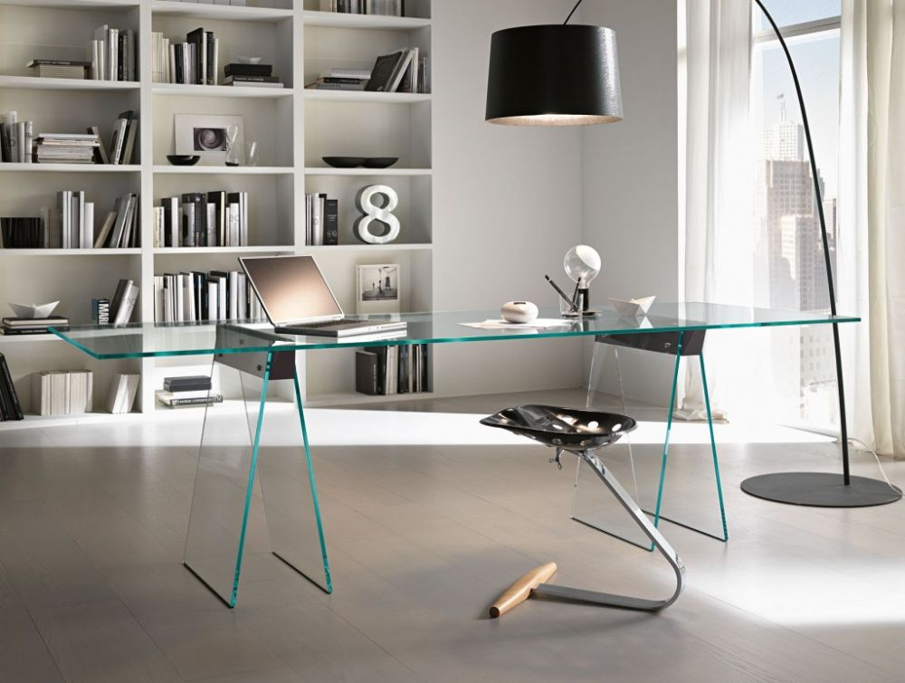 interesting office style with Unique glass desk and big curvy black floor lamp with drum shade