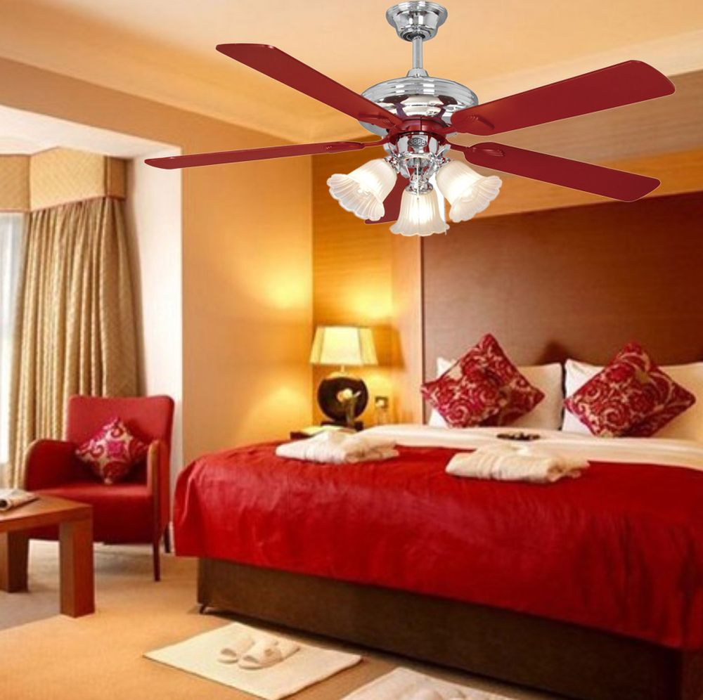 midcentury bedroom interior design with vintage ceiling fan light and three attractive lampshades