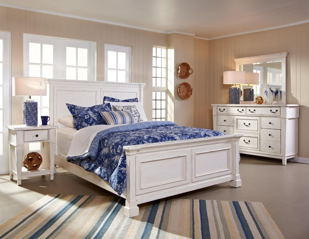 morris bedroom furniture sets in white color with mid-continent style and mini square shaped nightstand