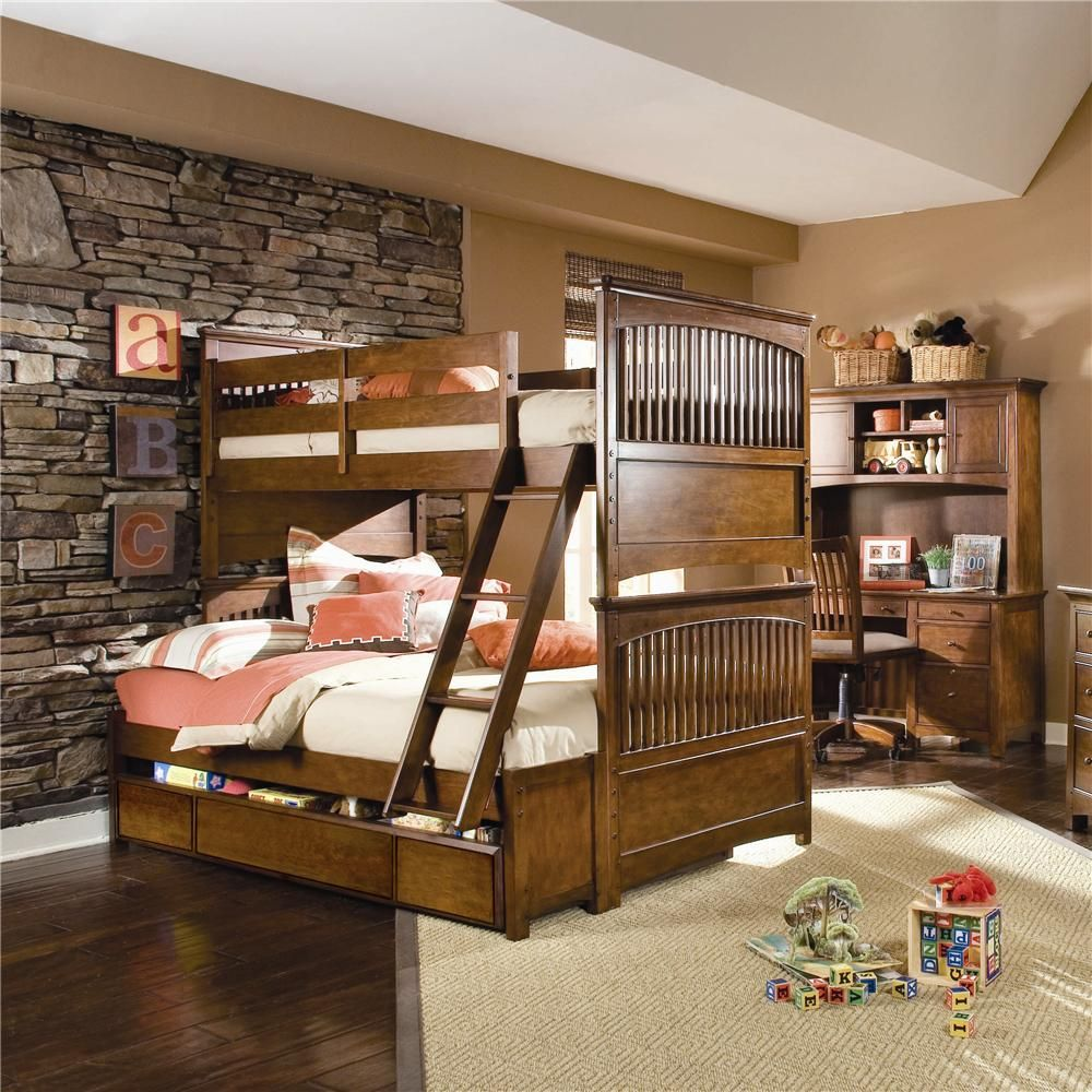 nice bedroom decor for boys with three wooden storage and slate stone wall