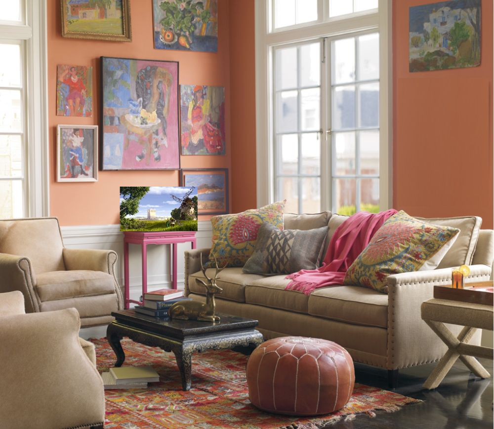 peach living room decoration with elegant moroccan style side table and small round leather puff in brown color