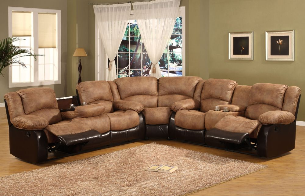 perfect living room with luxurious beige microfiber sectional couch and comfort rugs
