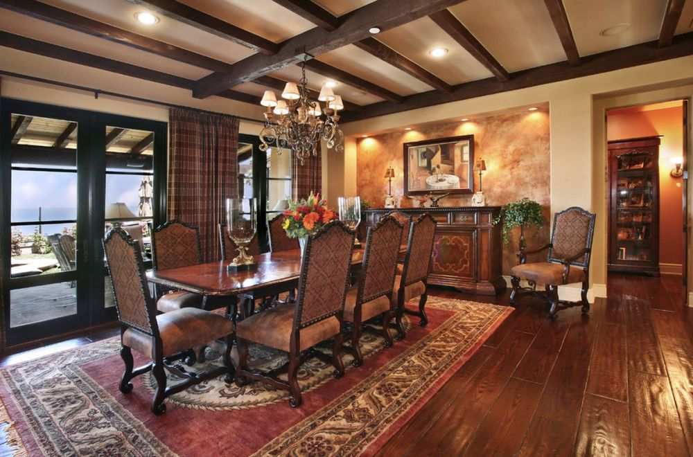 perfect victorian dining room with black and white tone of the ceiling paint and beige wall