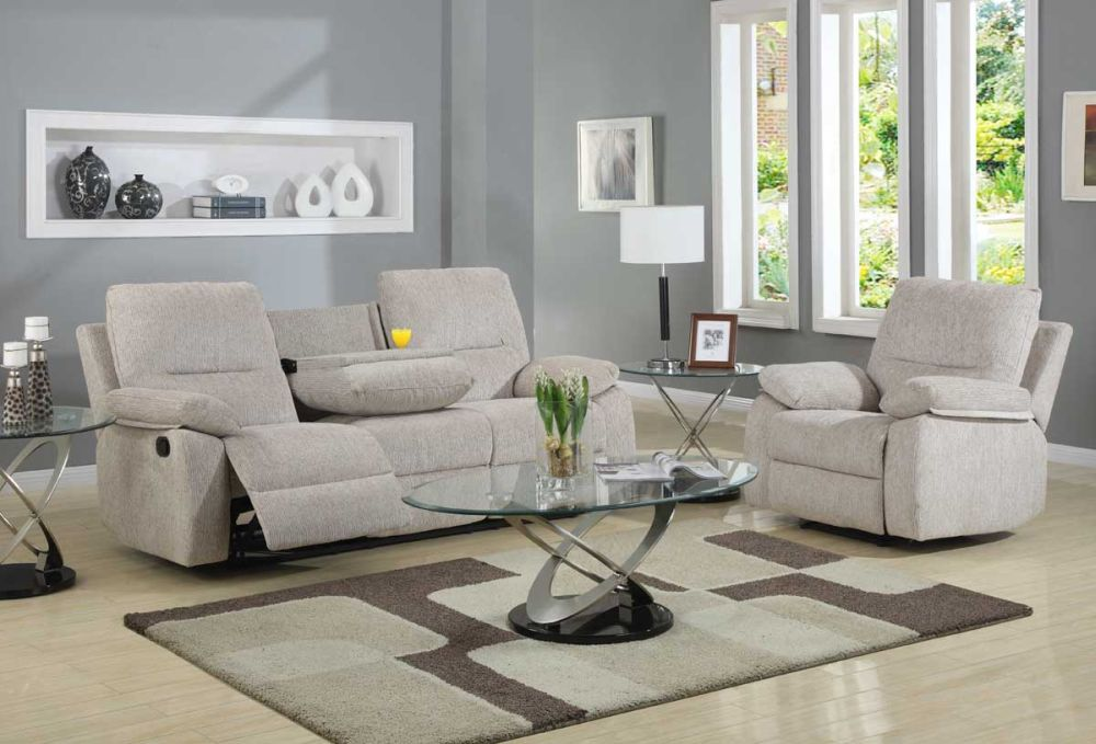 simple living room interior design with recliner chair which adjustable seats and modern oval coffee table
