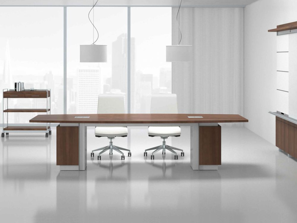 small conference table with brown and white colors ideal for small meeting