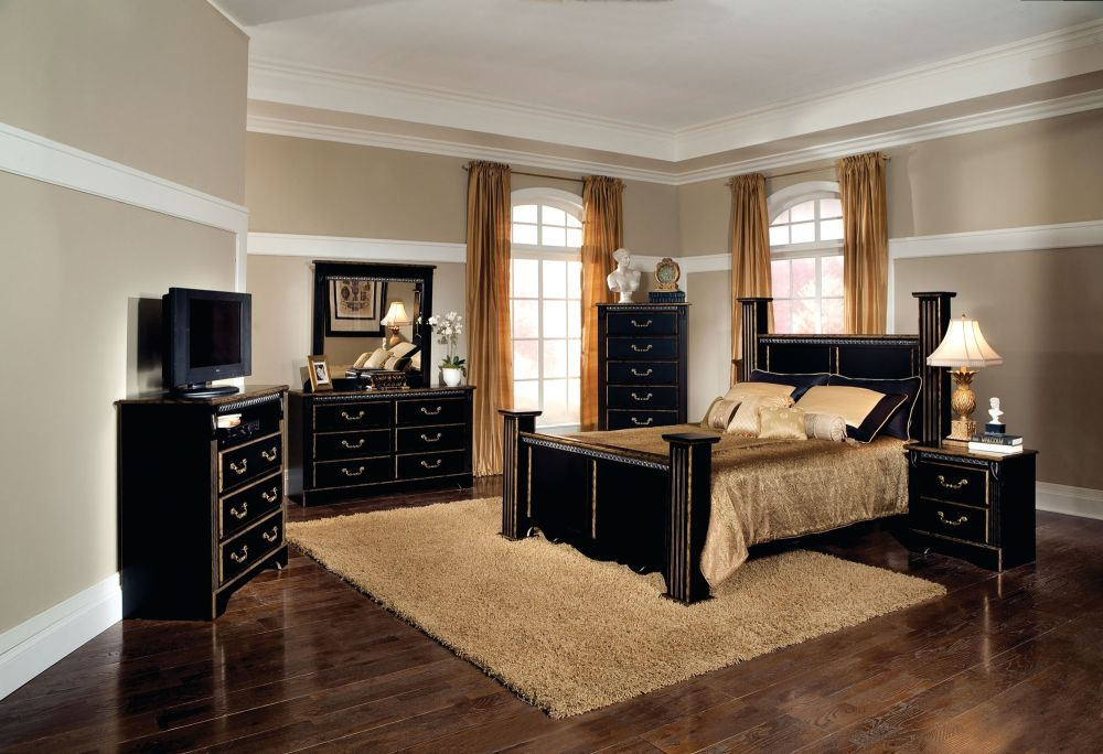 stylish black queen bedroom furniture sets with glossy bedside vanity and vintage desk
