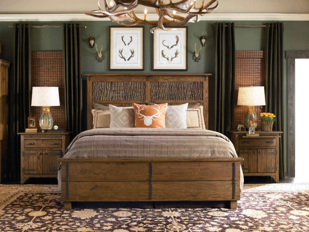 traditional country bedroom idea with rustic lightwood bed plus oak bedframe two antique bedside cabinets