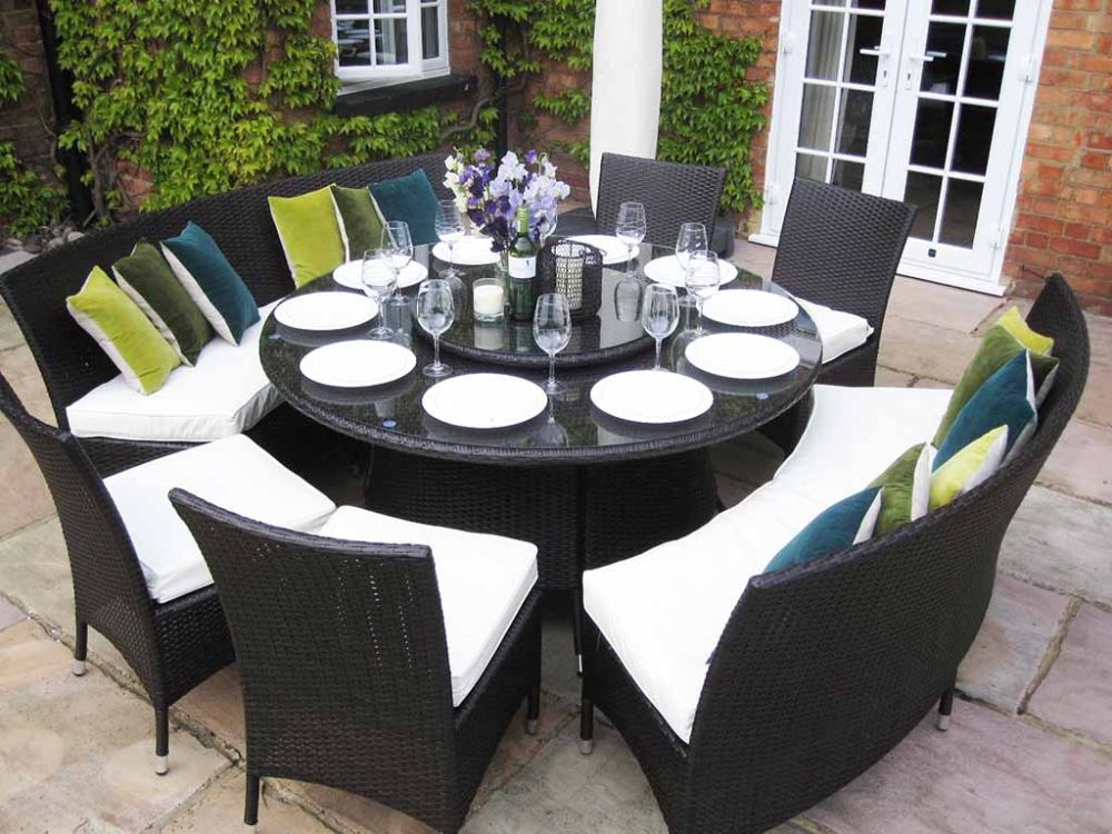 Black Wicker Round Dining Table Sets with Glass Top for Patio Important Things to Consider about Round Dining Table for 8 and 10 Persons
