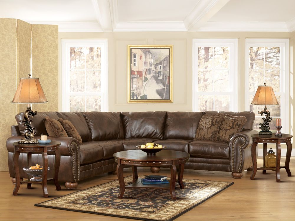 classic living room with a big sectional sofa and two wooden side tables outstanding side table to beautify living room