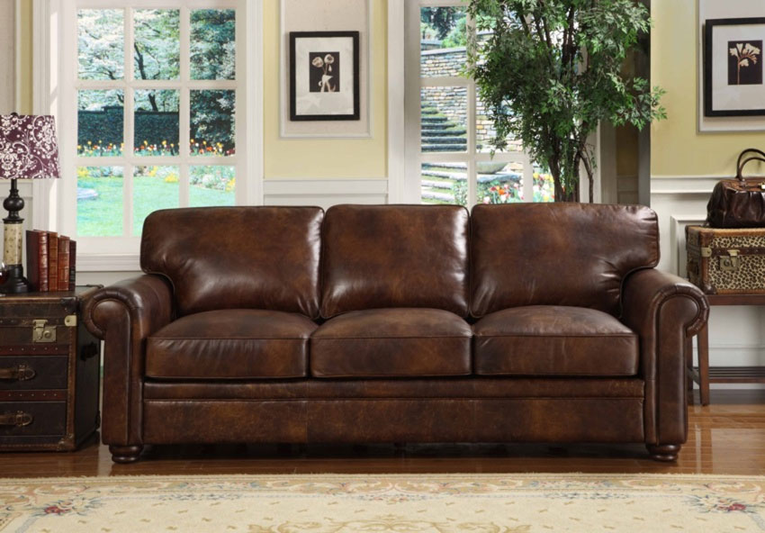 Rustic dim brown leather sofas fantastic expense for warm - Black and brown living room furniture ...